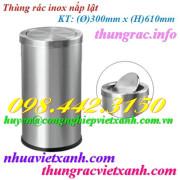 Thùng rác inox nắp lật 300x610mm