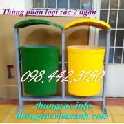 Thùng phân loại rác 2 ngăn có mái che