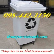 Thùng rác 60 lít - chất thải tái chế