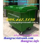 Thùng rác 660 lít composite 4 bánh xe FTR660