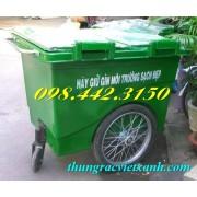 Thùng rác 660 lít composite 3 bánh hơi FTR660H