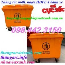 Thùng rác 660 Lít 4 bánh xe màu cam VX660-C