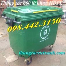 Thùng rác 660 Lít  4 bánh xe VX660