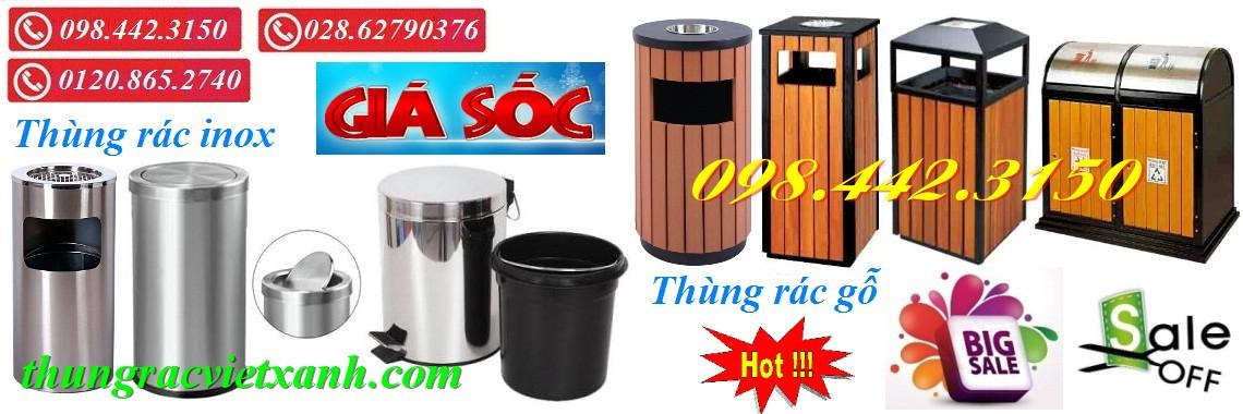 Thùng rác inox - Thùng rác gỗ