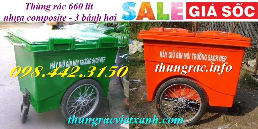 Thùng rác 660 lít 3 bánh hơi nhựa composite
