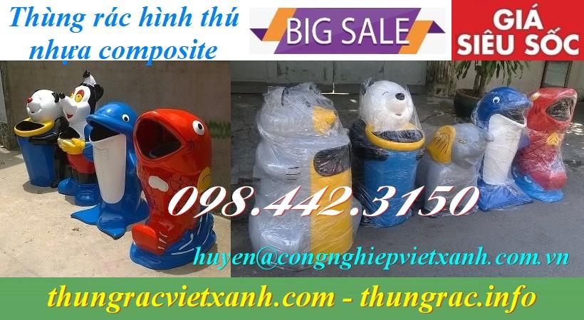 Thùng rác hình thú nhựa composite