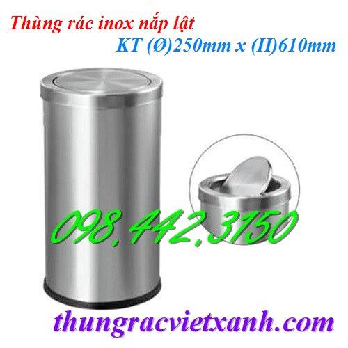 Thùng rác inox nắp lật 250x610