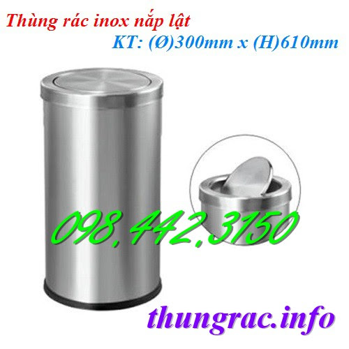 Thùng rác inox nắp lật 300x610