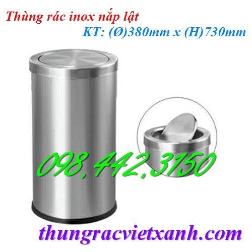 Thùng rác inox nắp lật 380x730