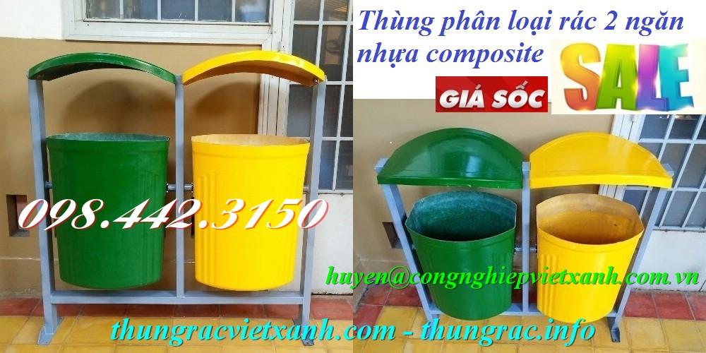Thùng phân loại rác 2 ngăn nhựa composite
