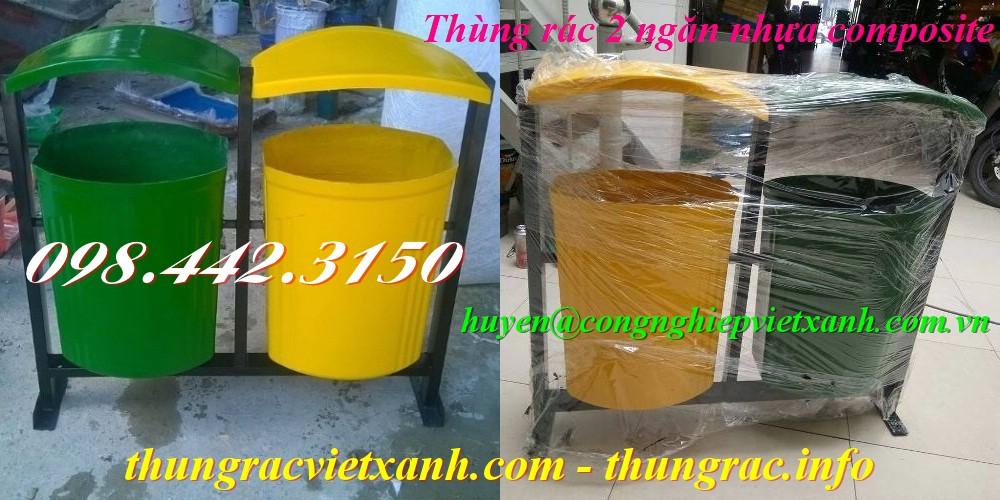Thùng rác 2 ngăn nhựa composite