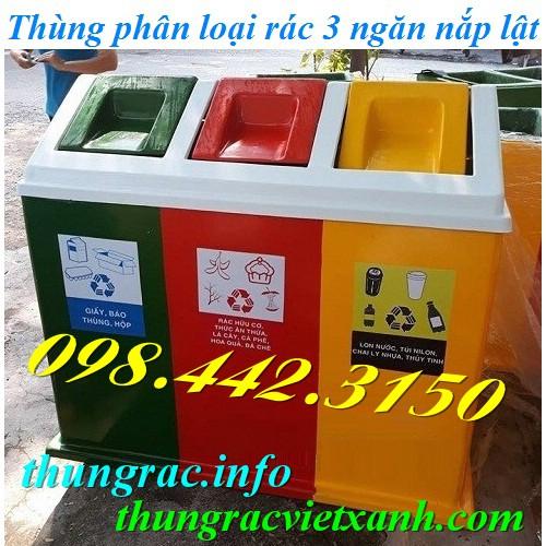 Thùng rác phân loại 3 ngăn nhựa composite