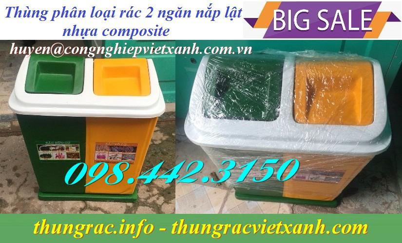 Thùng rác phân loại 2 ngăn nắp lật nhựa composite