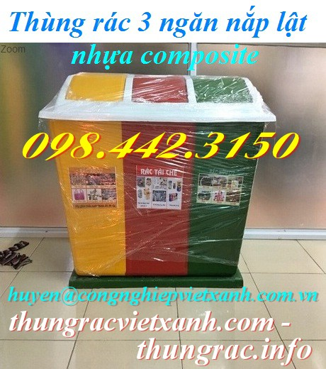 Thùng rác 3 ngăn nắp lật nhựa composite