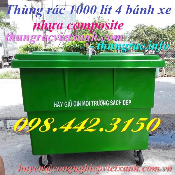 Thùng rác 1000 lít 4 bánh xe nhựa composite