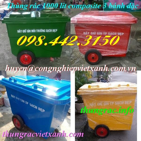 Thùng rác 1000 lít nhựa composite 3 bánh đặc