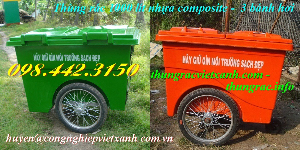 Thùng rác 1000 lít 3 bánh hơi nhựa composite