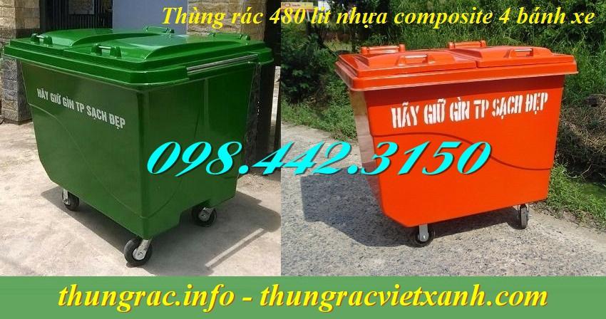 Thùng rác 480 lít nhựa composite
