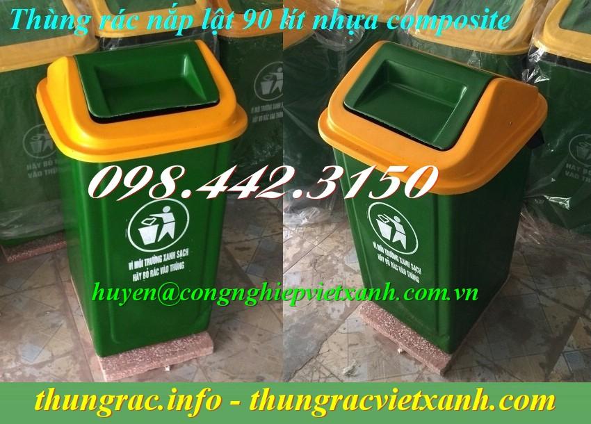 Thùng rác 90L nắp lật nhựa composite