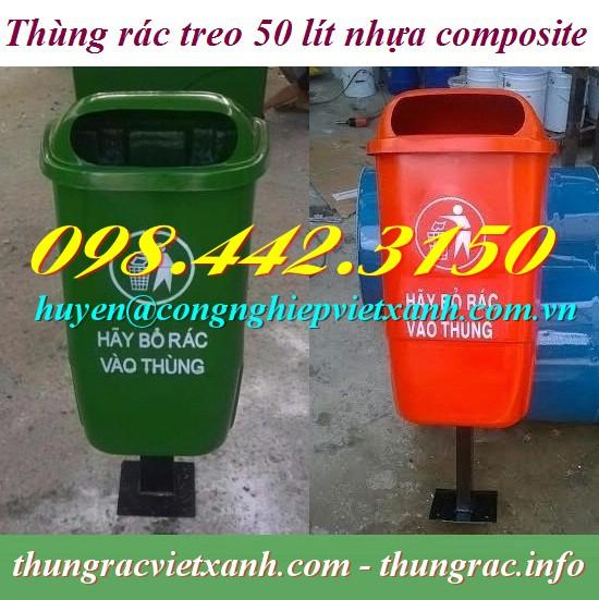 Thùng rác treo đơn 50l chân sắt nhựa composite