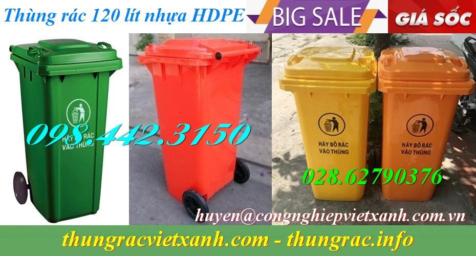 Thùng rác 120 lít nhựa hdpe giá rẻ
