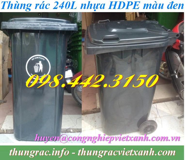 Thùng rác 240 lít màu đen nhựa HDPE