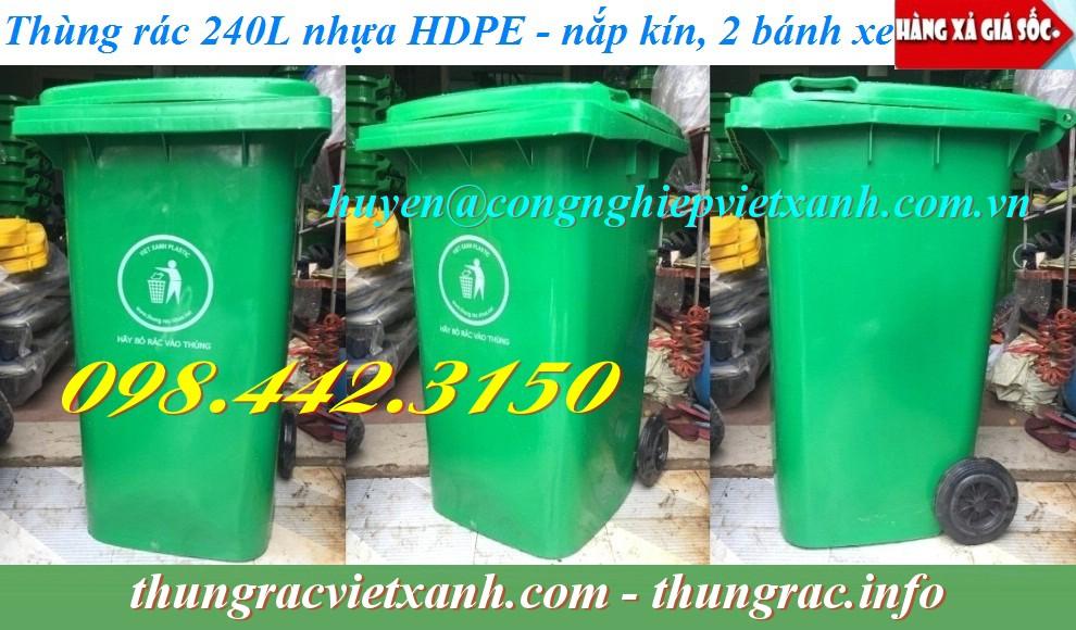 Thùng rác 240 lít nhựa HDPE giá rẻ
