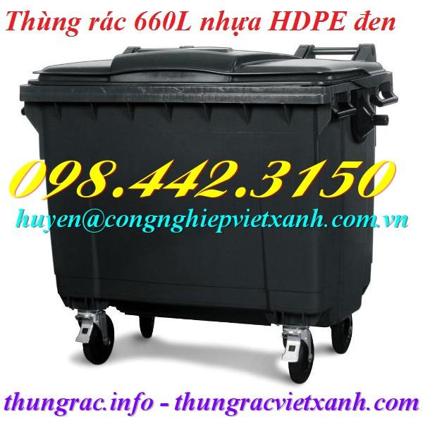 Thùng rác 660 lít nhựa HDPE màu đen