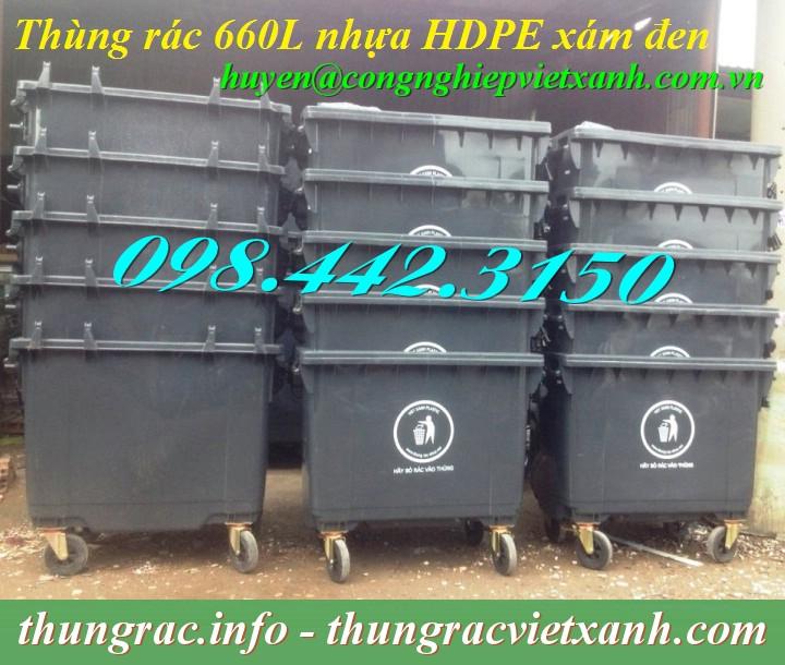 Thùng rác 660L nhựa HDPE màu đen
