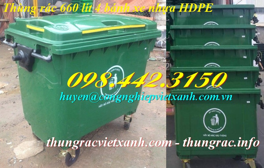 Thùng rác 660 lít 4 bánh xe nhựa hdpe