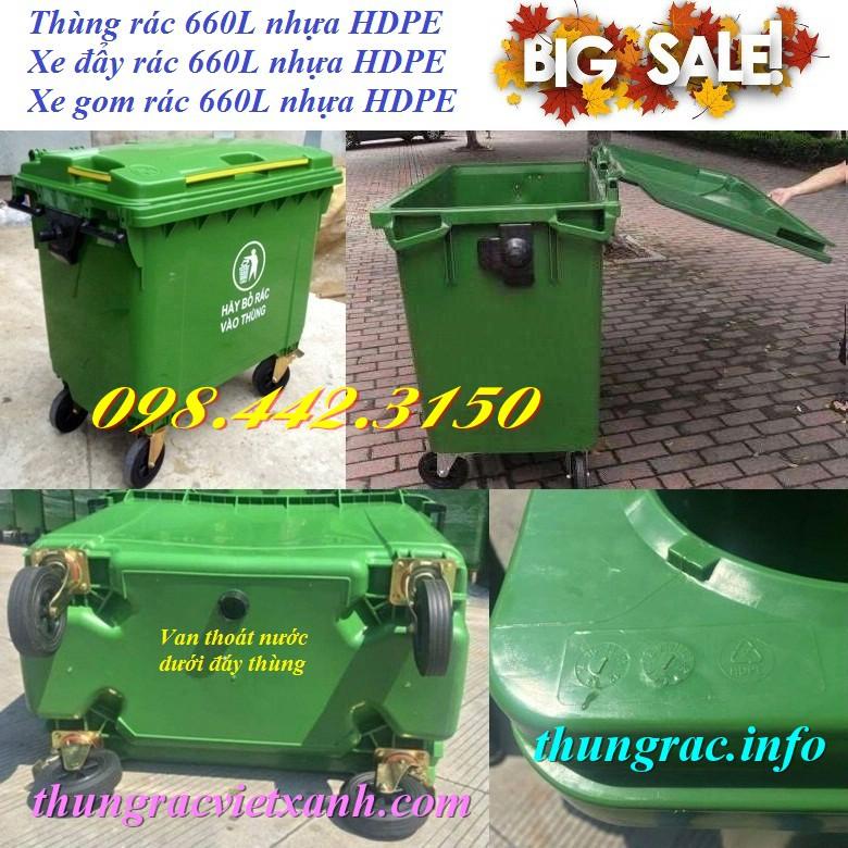 Xe rác nhựa hdpe 660 lít