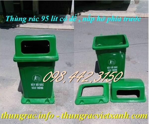 Thùng rác 95 lít nắp hở có đế