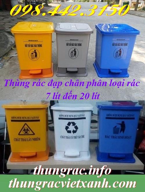 Thùng rác đạp chân phân loại rác nhựa pp