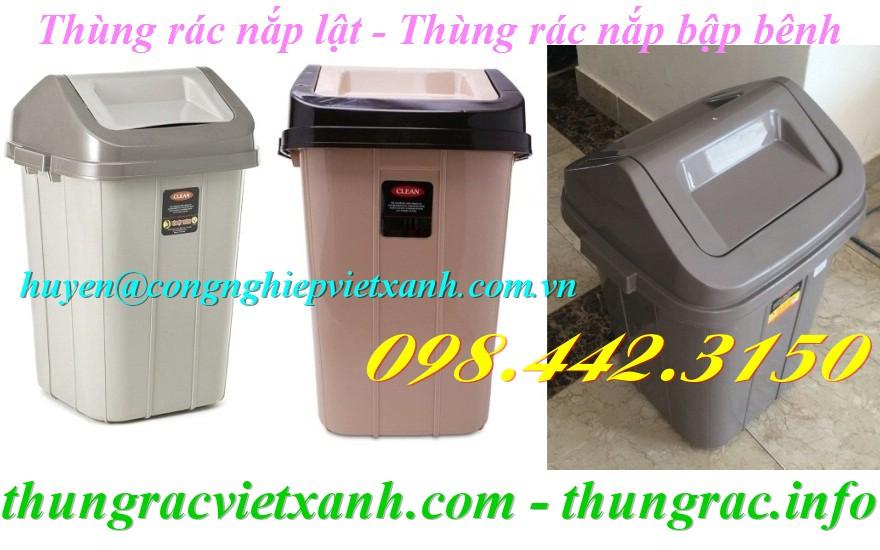 Thùng rác nắp lật mái nhà