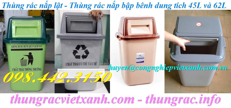 Thùng rác nắp lật phân loại rác