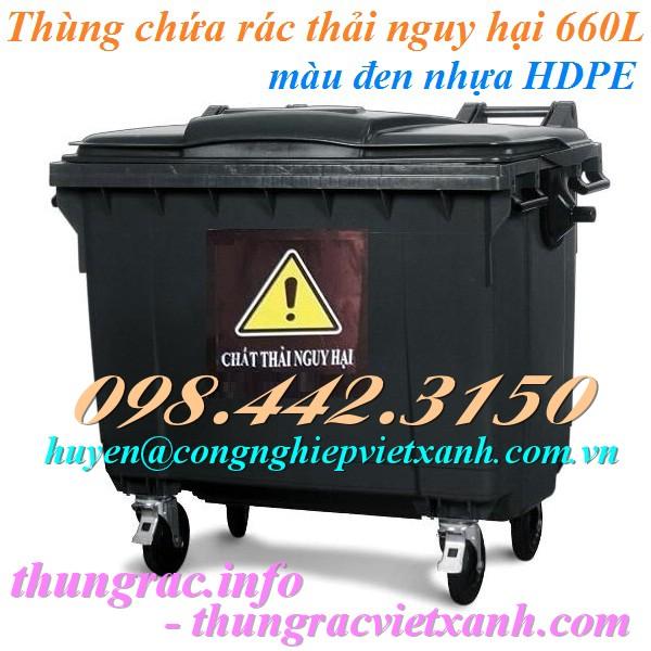 Thùng rác 660 lít màu đen chứa chất thải nguy hại