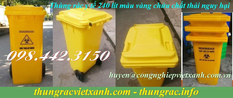 Thùng rác y tế 240 lít màu vàng chứa chất thải nguy hại