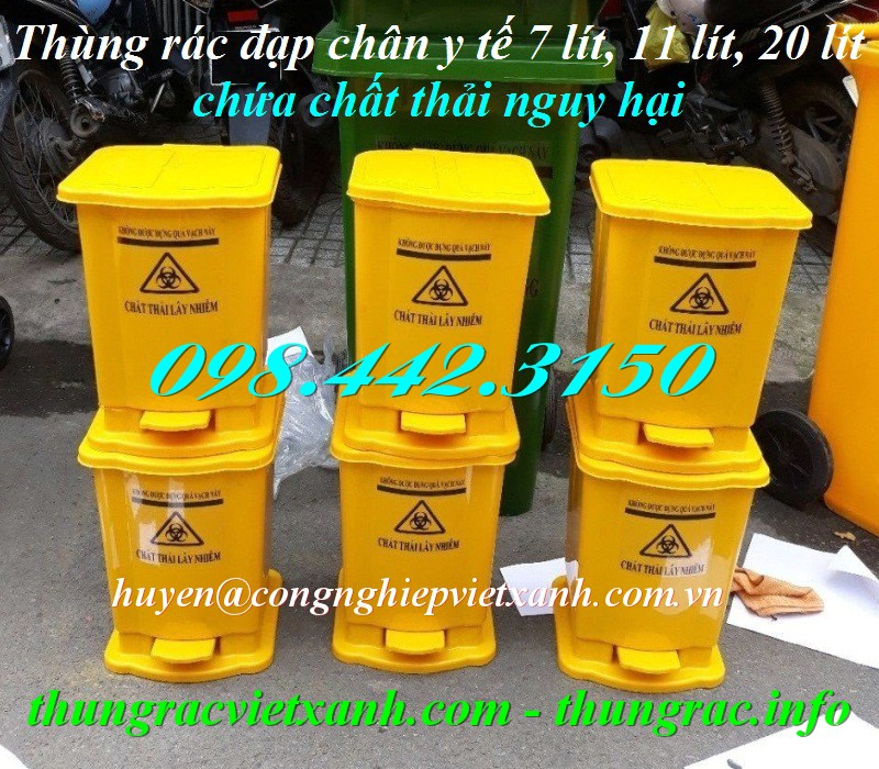 Thùng rác y tế đạp chân màu vàng