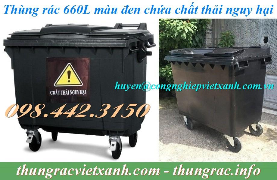 Thùng rác 660 lít màu đen chứa chất thải độc hại