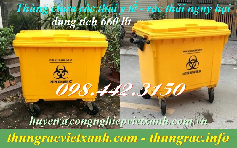 Xe gom rác y tế 660 lít màu vàng